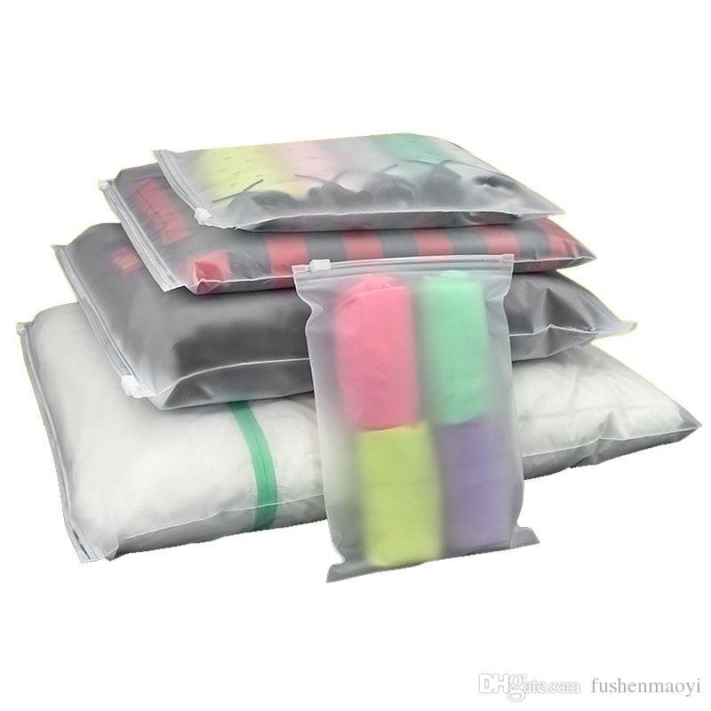 100pcs richiudibile trasparente Imballaggio Borse Acid Etch plastica Ziplock Borse camicie calzino biancheria intima del sacchetto dell'organizzatore del 16 formati