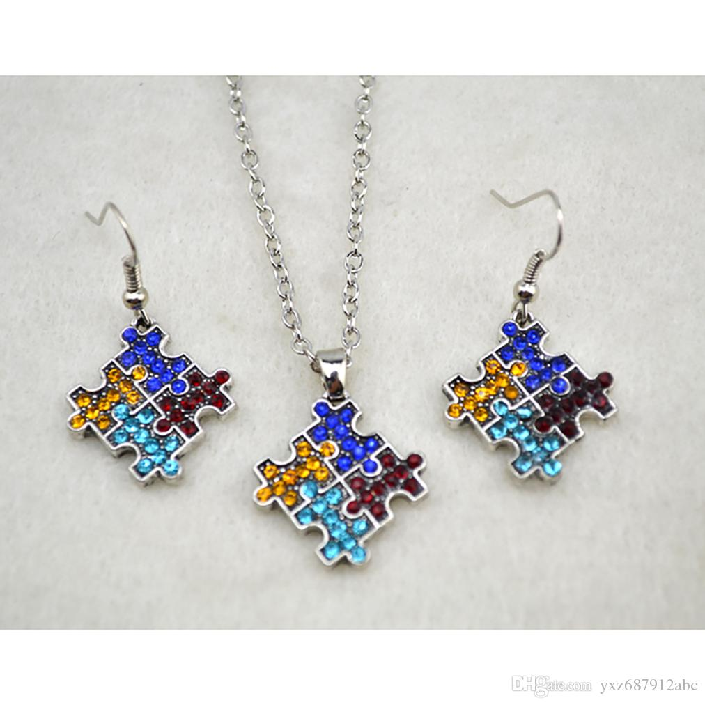 Puzzle Pendant Necklace Earring Set Charm With Sparkling Crystals rhodium plated Multi-Colored Necklace Earring Set Jewelry