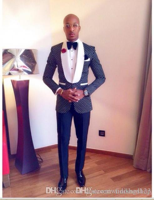 زرار واحد للبحرية البولكا الأزرق Dot Groom Tuxedos Man Shawl Lapel Wedding Coat Promine Suits (Jet+Pants+Bow Tie) J: 894