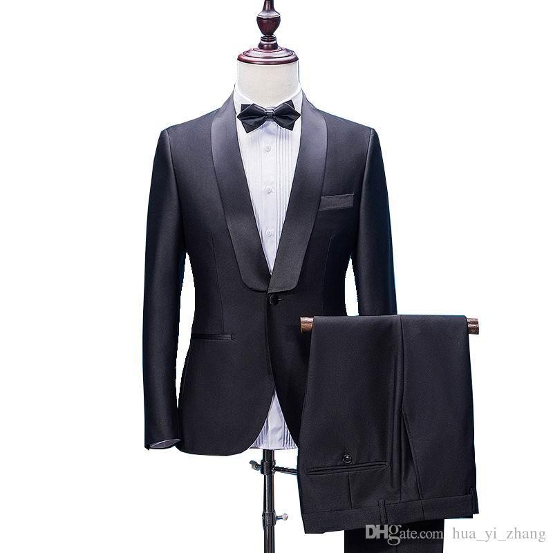 2018 hombres trajes de boda encajan un botón Dos piezas con pantalones de lana mezcla de esmoquin del novio de moda Trajes de la carrera profesional