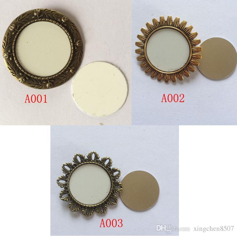 Mode épingles pour sublimation rétro vintage Bronze broche en épingle pour le transfert de chaleur impression vierge femmes broches DIY consommable 3 styles 25 MM A3800