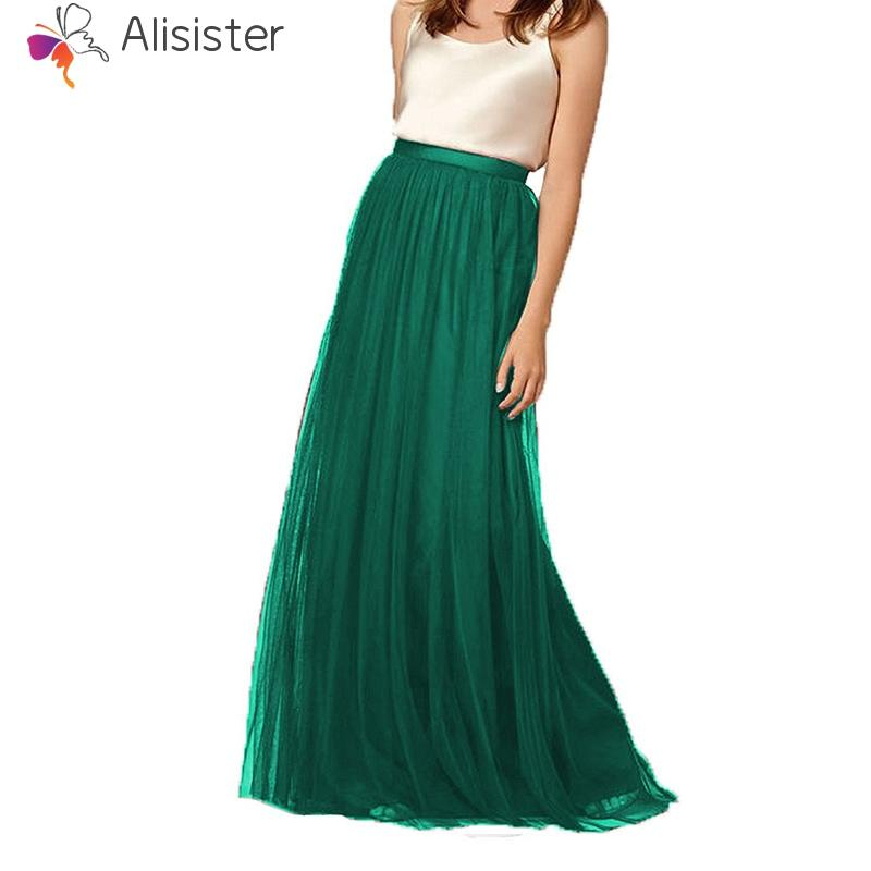 2018 Vintage Tulle Skirts Womens Pink Green White Adult Mesh Chiffon Long Skirts Elastic High Waist Pleated Maxi Skirt Plus Size
