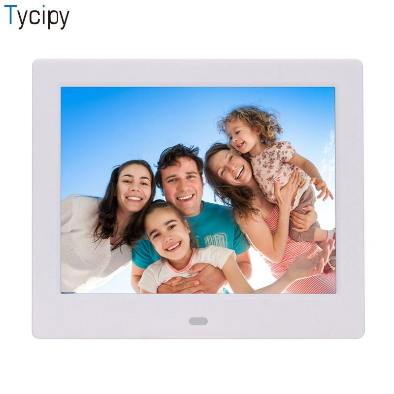 Tycipy 8 Inch Digital Photo Frames High-Definition LED Digital Screen Heat 1224*768 Alarm Clock/Calendar/ MP3/Video Playback