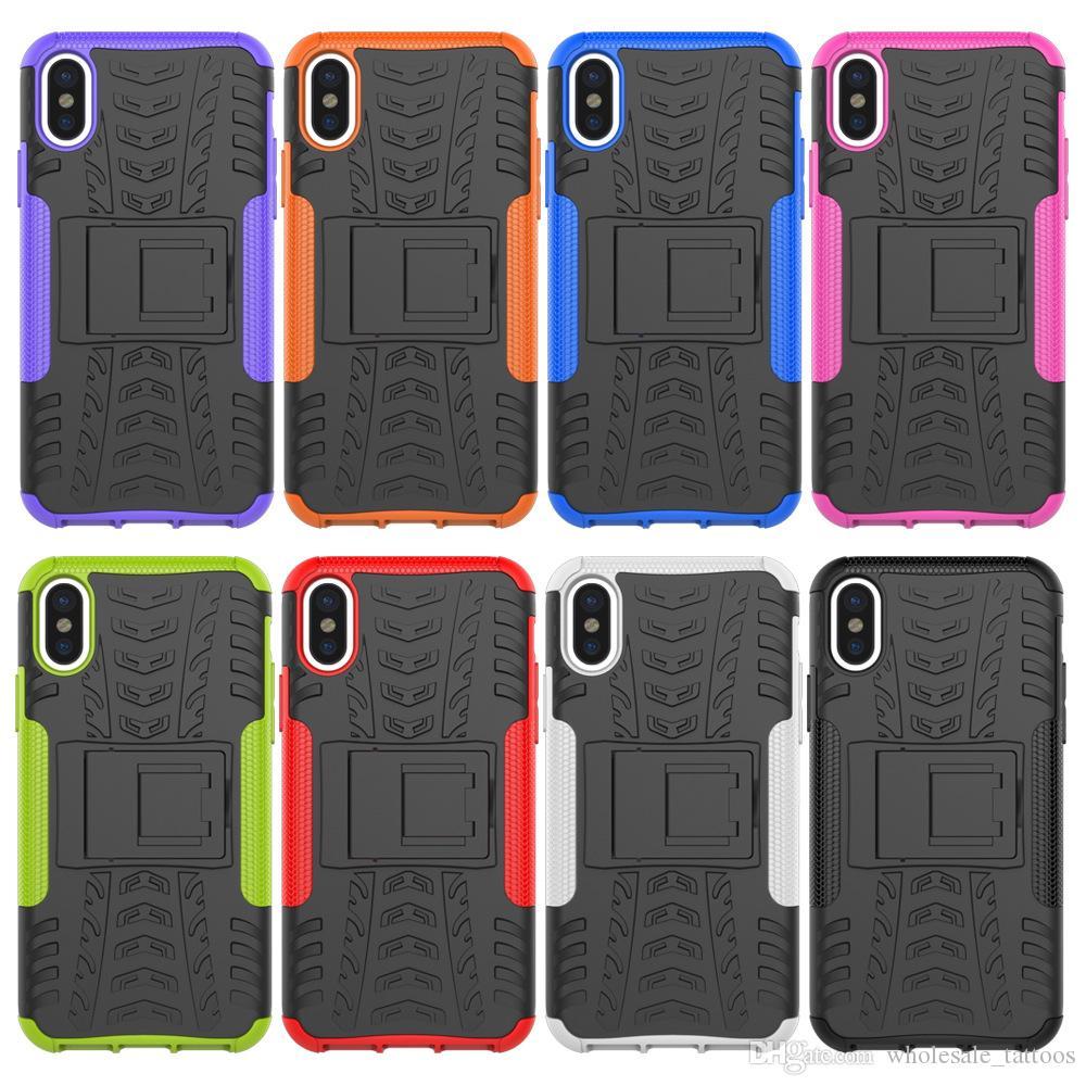 Dla iPhone 5 5S SE 5C 6 6S Plus 7 8 Plus X Alcatel One Touch Flash 2 TPU PC Silikonowa Dual Armor Back Cover z Holder Holder Case