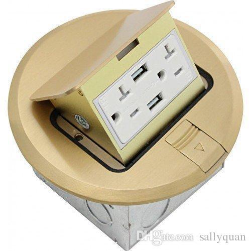 Orbit Industries FLBPU-DU-R-C-BR Runde Pop-Up-Bodendeckel Nur mit Duplex-Buchse und zwei USB-Ports, manipulationssicher, Messing