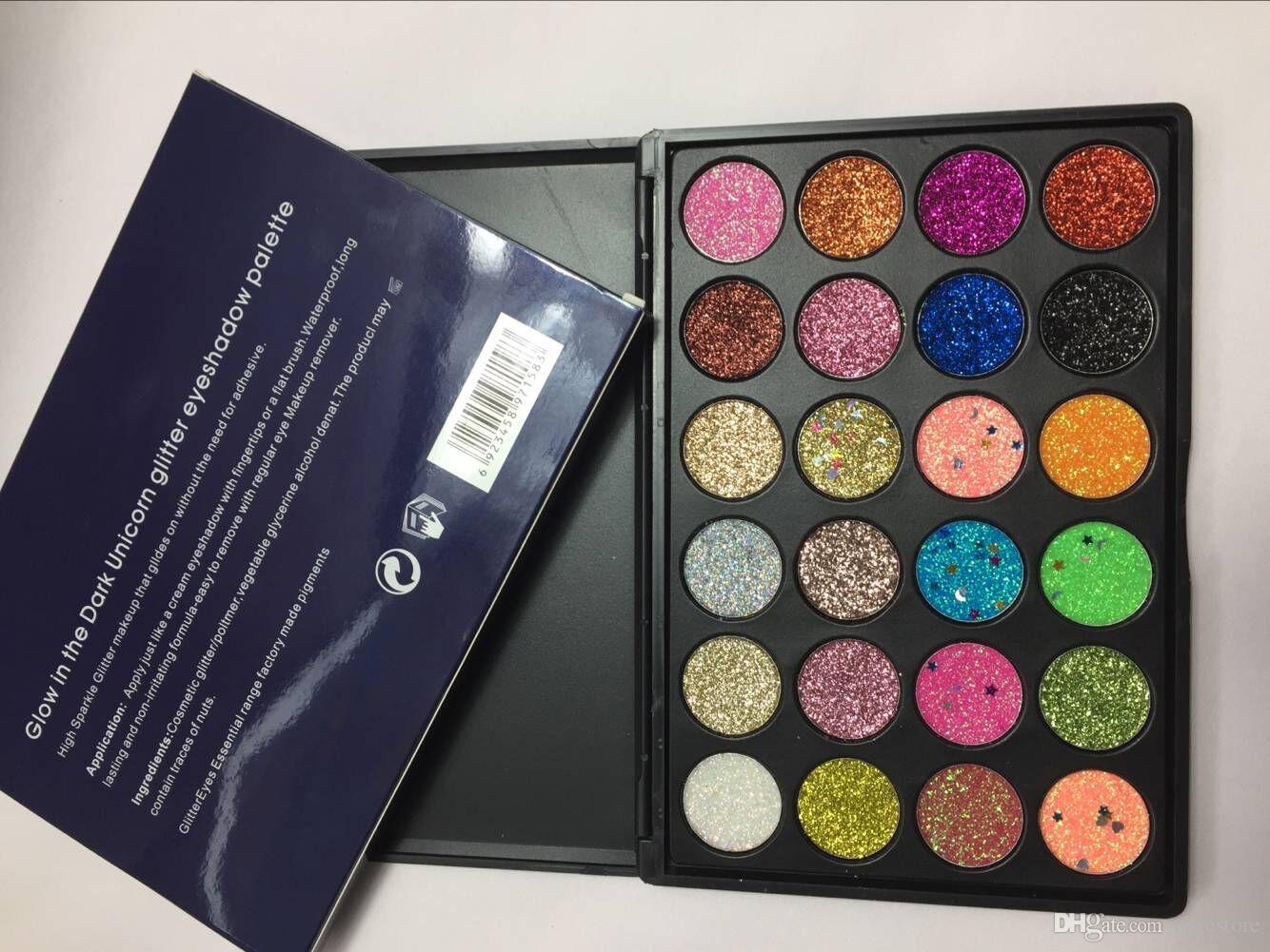 Свечение в темной палитре теней для век блеск 24 цвета ультра пигментированные блеск оттенки макияж тени для век