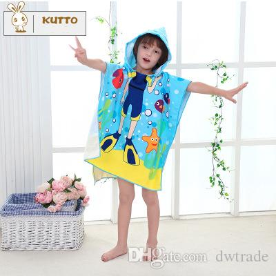 Cute Cartoon Colsplay Superfine Fiber Printing Child Hooded Cloak Infants Young Children Cloak Swim Beach Towel Rub Body Robes 120*120cm