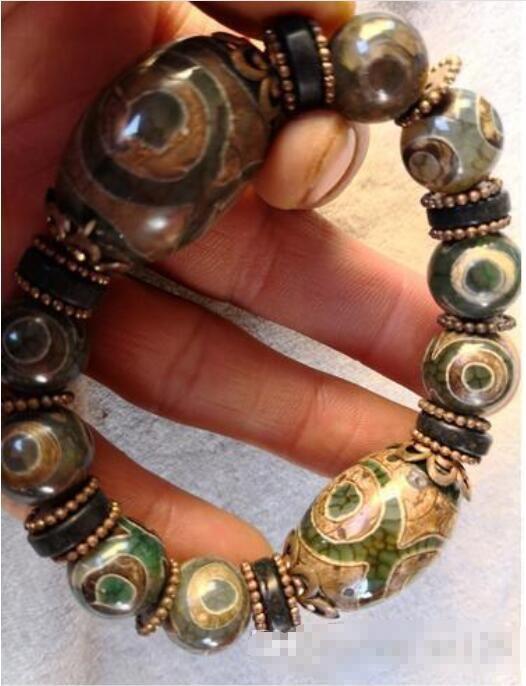 Großhandel - Tibet Drei Augen Natürliche Achat Armband Hand String Perlen glückliches Jahr des Schicksals