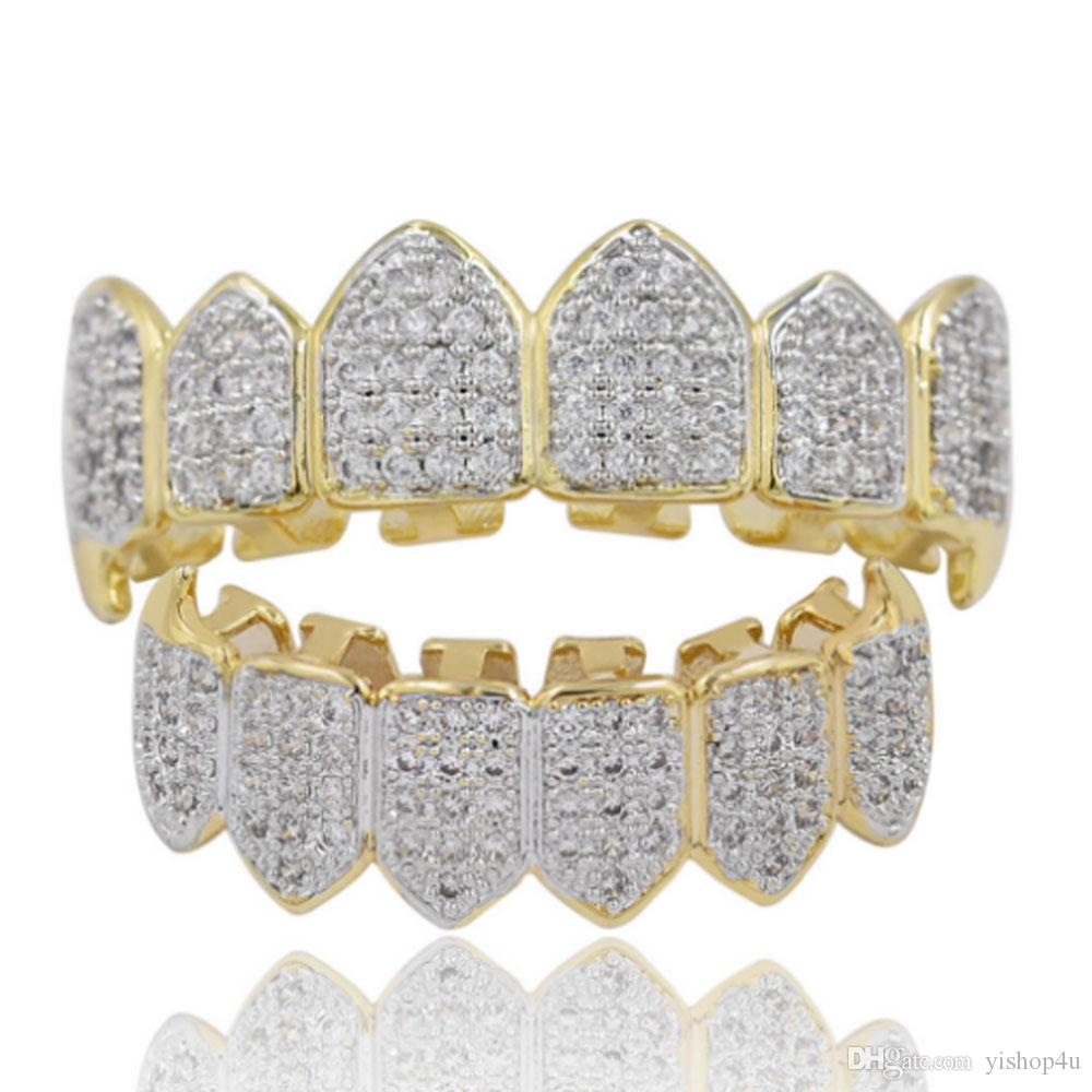 Men's Women Fashion Teeth Grillz 18K Gold Plated Macro Pave CZ Iced-out Grillz Sets Top and Bottom Hip-hop Grillzs Bling Bling Custom Style,