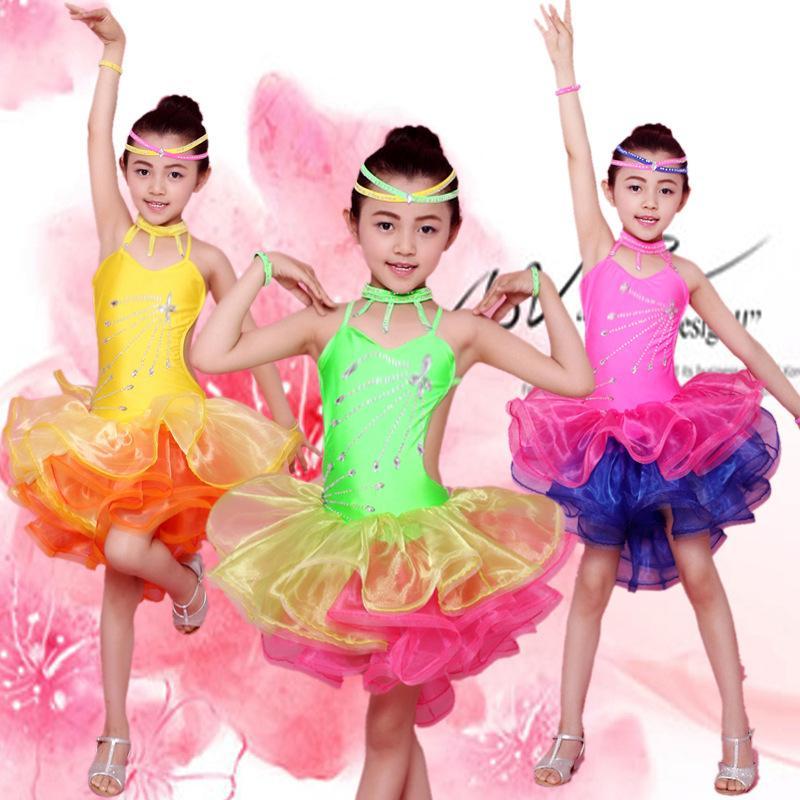 밝은 색상의 무대 공연 소녀 의상 라틴 댄스 의류 sequin 드레스 어린이 라틴어 살사 드레스 삼바 댄스 의상