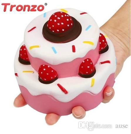 Tronzo 11 cm Kawaii Sweet Jumbo Strawberry Cake perfumado Squishy Juguetes Anti-Estrés Squish Slow Rising Doll regalo para los niños