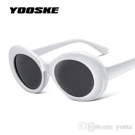YOOSKE женщины Clout очки Очки мужчины NIRVANA Курт Кобейн солнцезащитные очки женский мужской овальные солнцезащитные очки черный белый очки UV400
