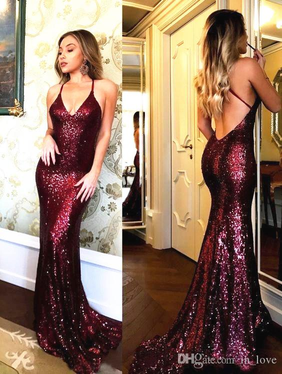 Bling Bling Burgundy Sequined Evening Dresses Backless Deep V Neck Sexy Style Long Mermaid Pageant Dresses Prom Gowns