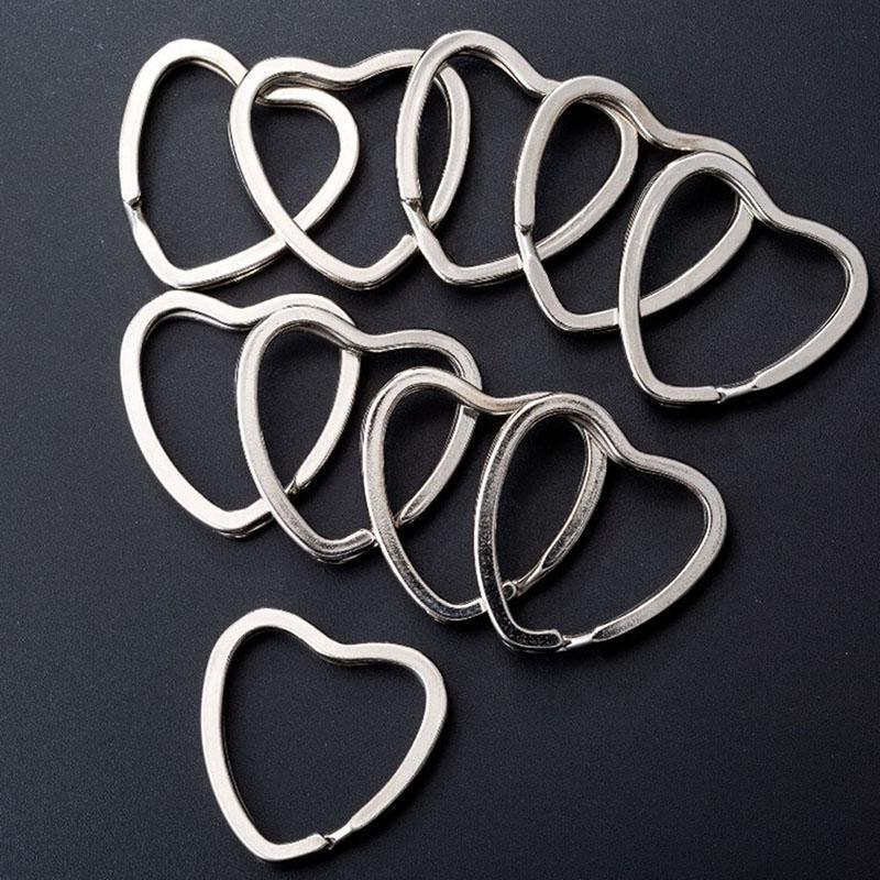 10PCS Metallo fai-da-te Cuore d'amore Stelle a forma di anello a spacco Portachiavi Portachiavi Portachiavi Accessori Connettore Portachiavi Portachiavi