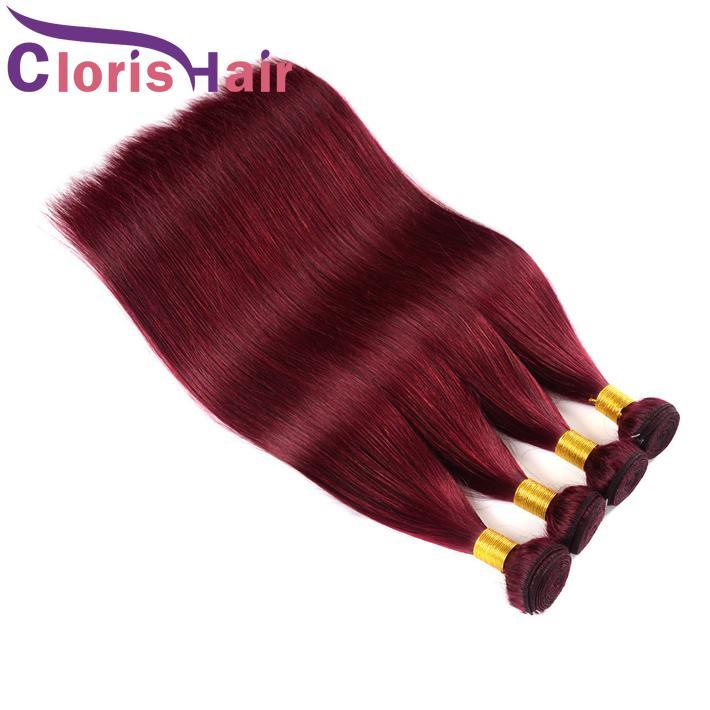 Coloré Bourgogne Extensions de Cheveux Vierges Indiennes Droites Cheveux Humains 3 Faisceaux Bon Marché Non Transformés 99J Vin Rouge Droite India Hair Weave