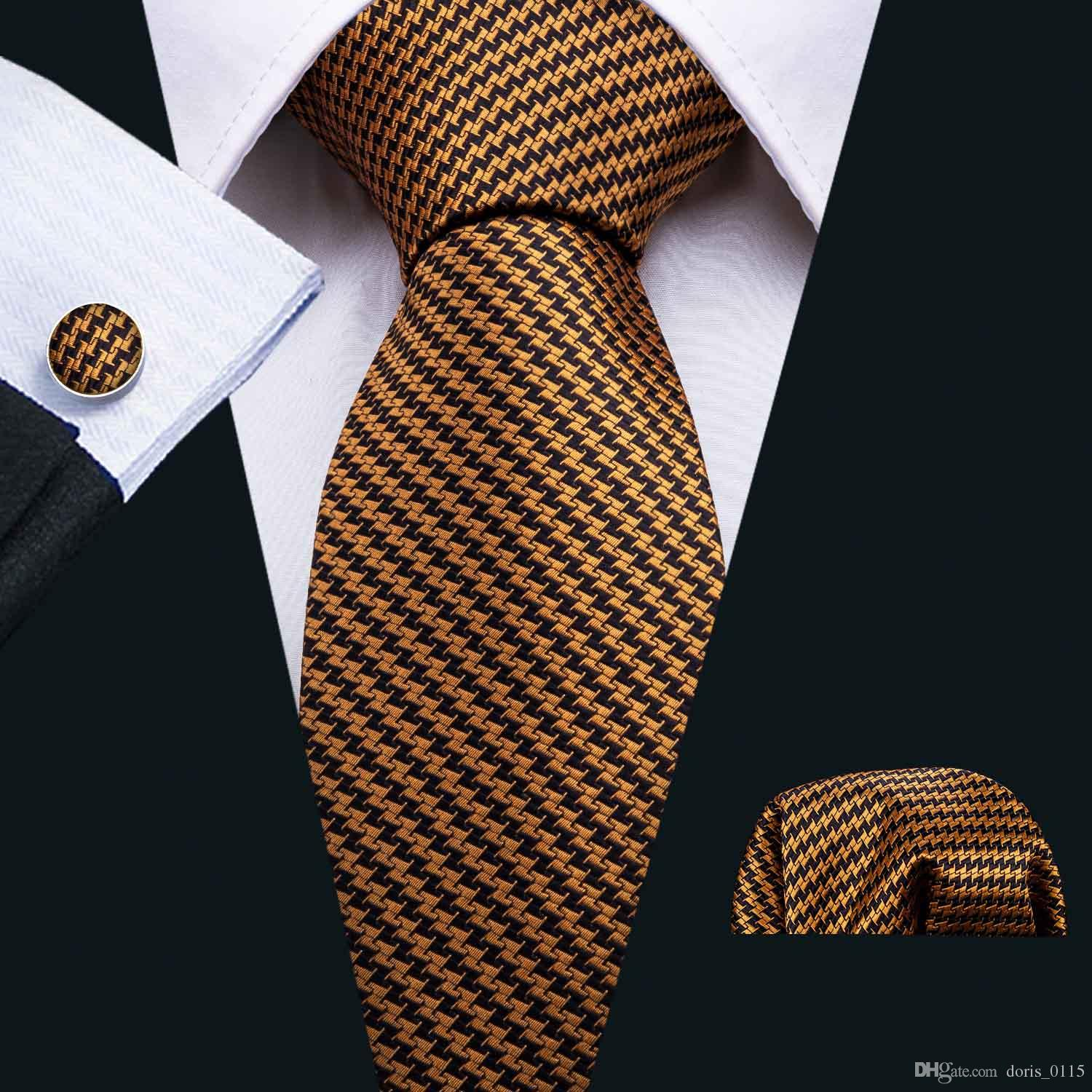 Fast Shipping Silk Tie Gold black Luxury Tie Gift Set Classic Tie for Men with Cufflink Pocket Square for Wedding Party Business N-5029