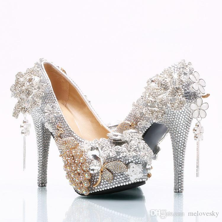 2018 Hecho a mano de lujo de cristal de plata flores borla de tacón alto Rhinestone bling bling Zapatos de boda nupcial de tacones altos fiesta de baile de la boda zapatos