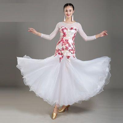 Взрослый/женщины бальные танцы платье современный Вальс стандартный конкурс танец платье сетки шить цветок печатных платье 4Color белый черный фиолетовый