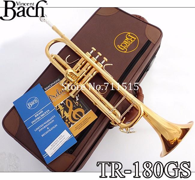 Profesyonel Vincent Bach Pirinç Bb Trompet TR-180GS Bb Altın Lake Trumpete Instrumentos Trompeta Durumda Ağızlık 7c