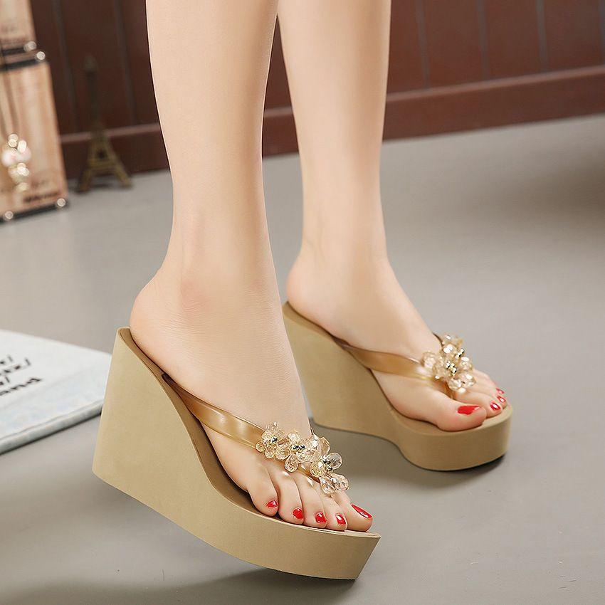 Летние женские тапочки пластиковые хрустальные высокие толстые каблуки открытый носок платформы шлепанцы выдалбливают слайды обувь женщина клинья сандалии