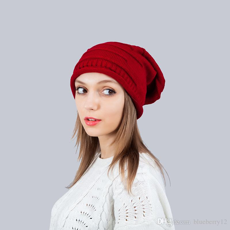 النساء أزياء محبوك قبعات دوبي 7 ألوان الشتاء الدافئ الغزل مصبوغ قبعة عارضة قبعة للجنسين الكبار القبعات