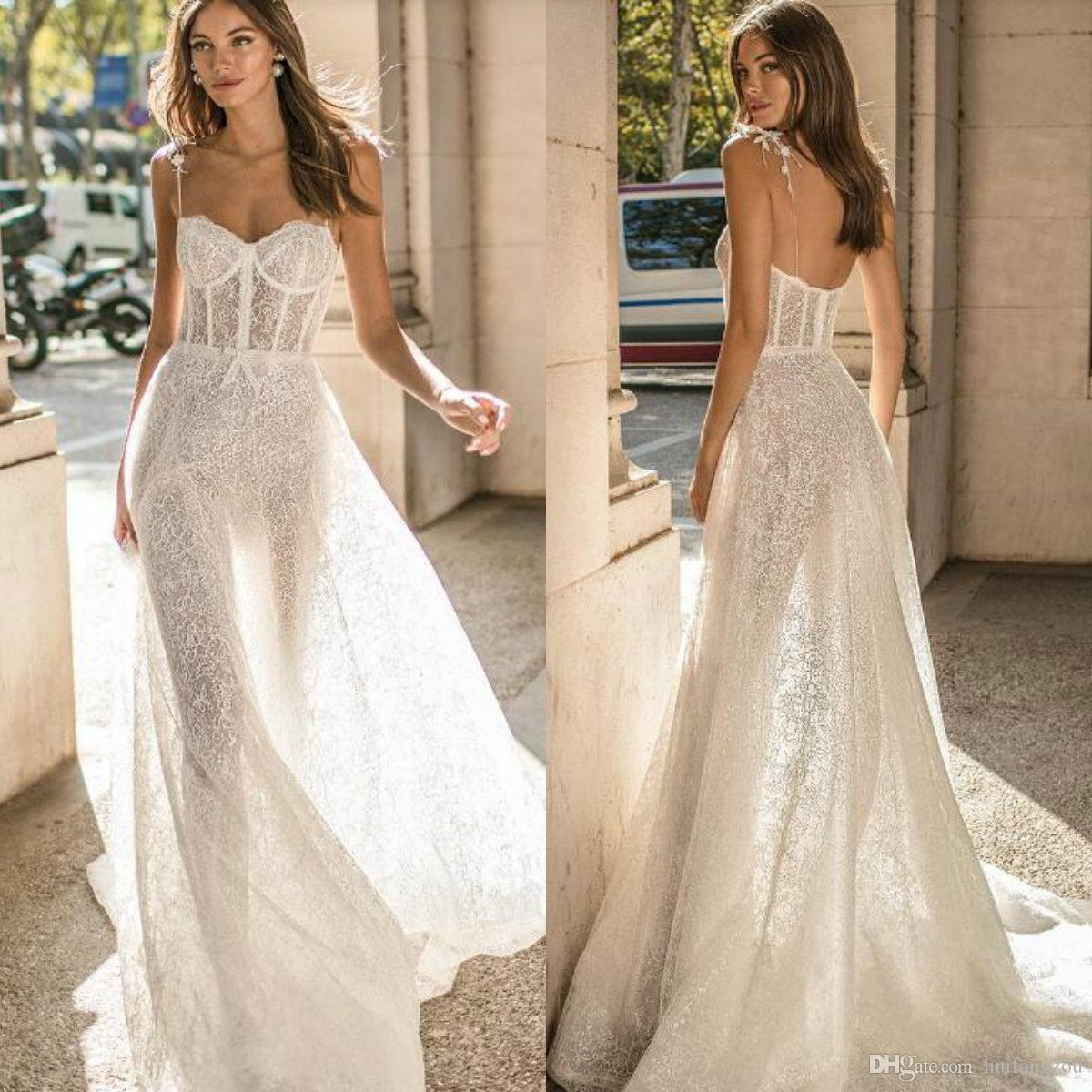 Latest Berta Wedding Dresses Spaghetti Straps Full Lace Sexy Illusion Bridal Gowns Exposed Boning Backless Beach Wedding Dress