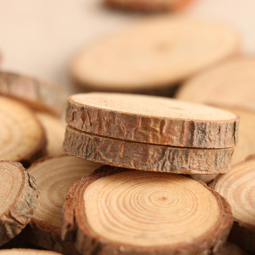 10 قطعة / المجموعة 2-4 سنتيمتر شرائح الخشب سجل أقراص ل diy الحرف الزفاف المركزية الخشب ديكور