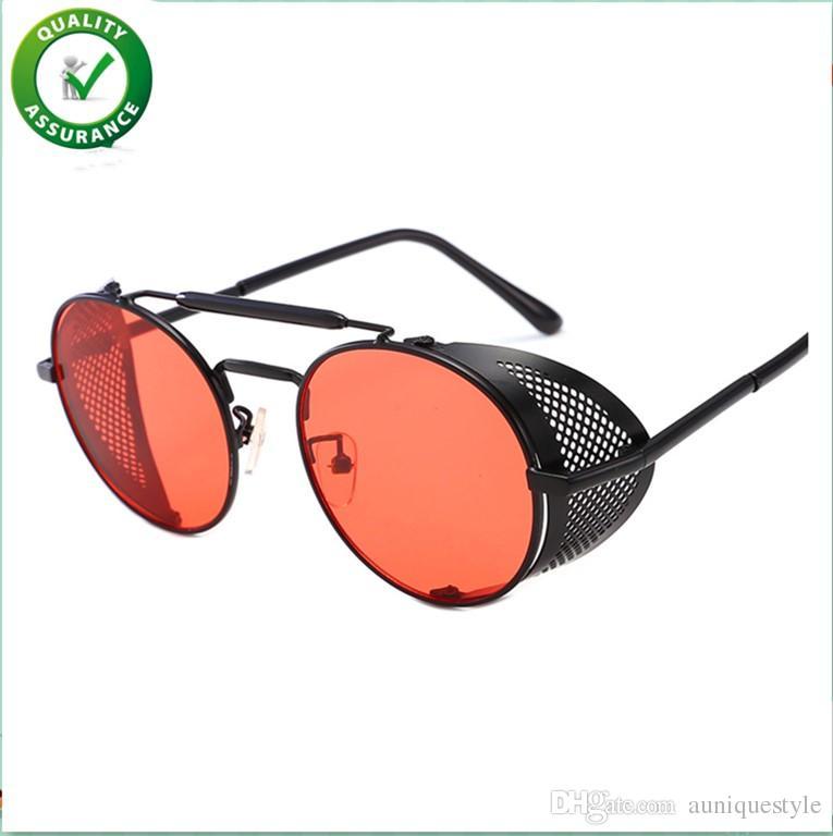 Designer de luxo óculos de sol para as mulheres mens marca de moda moldura de metal lateral rodada retro vintage steampunk gótico hippie círculo retro óculos