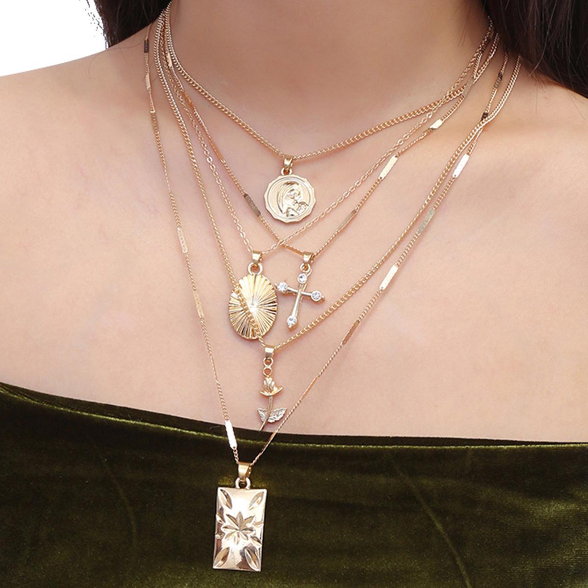 골드 슬리버 예수 크로스 여자를위한 꽃 초커 목걸이 펜던트 로즈 Boho Christian Portrait Long Multilayer Necklace