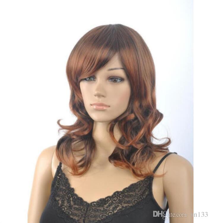 Mode Brown Wellenförmige Lockige Medium Lange Frauen Dame Cosplay Partei Perücke Perücken + Cap
