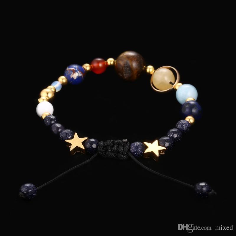 Sistema solare braccialetto Handmade della galassia dell'universo I gioielli otto pianeti della stella di pietra naturale Bead braccialetti dei braccialetti per le donne gli uomini