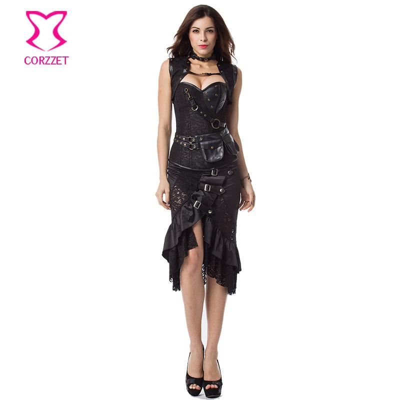 2019 Vintage Steampunk Corset Dress Women Black Plus Size Corsets And  Bustiers Skirt Jacket Set Gothic Dresses Burlesque Costumes From Dalivid,  $82.09 ...