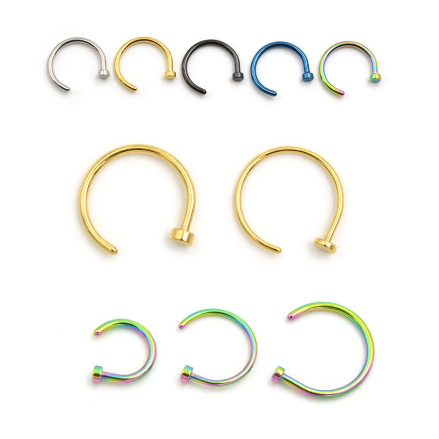 wholesale 100pcs mix 4 Colors Nose Hoop Nose Rings Stainless Steel Ear Studs Rings Body Piercing For Women Men Body Jewelry