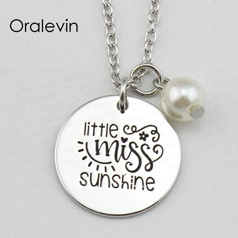 LITTLE MISS SUNSHINE Inspirational Hand Stamped Engraved Custom Pendant Necklace for Trendy Women Jewelry,18Inch,22MM,10Pcs/Lot, #LN1743