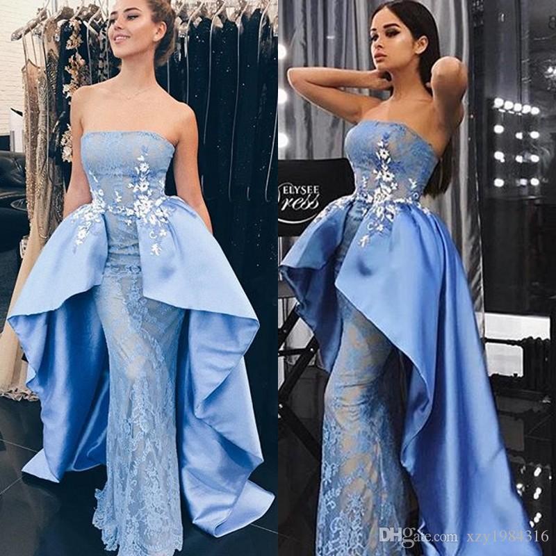 Arabia Saudita Vestidos de fiesta celestes con falda de satén Moda Sin tirantes Apliques Encaje Sirena Vestido de fiesta Vestidos de noche atractivos y glamorosos