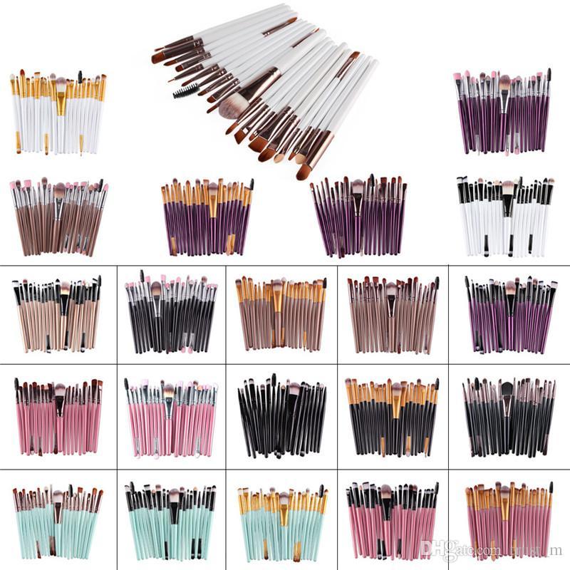 20 Pz Pennelli Trucco Cosmetici Set Powder Foundation Ombretto Eyeliner Lip Brush Strumento Marca Make Up Pennelli strumenti di bellezza DHl spedizione gratuita