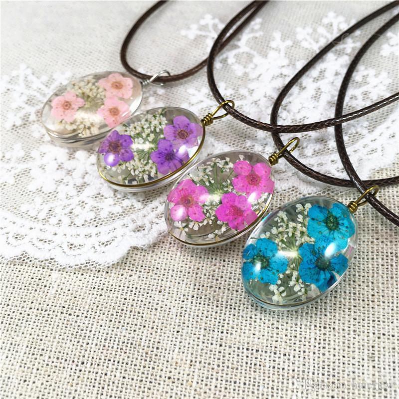 Collares pendientes de la declaración de la flor seca natural Collares hechos a mano de la cadena de cuero de alta calidad Collar largo femenino de Boho