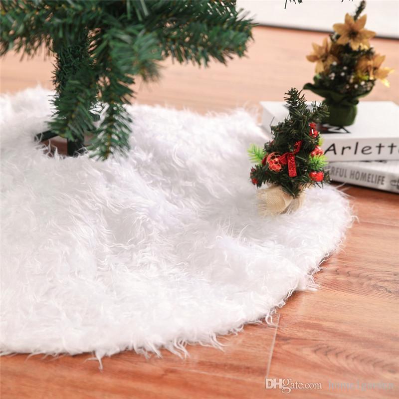Jupe sapin de Noël classique en fausse fourrure 30 pouces de diamètre - Shaggy Shag en fausse peau de mouton blanche ronde, décor de sapin de Noël