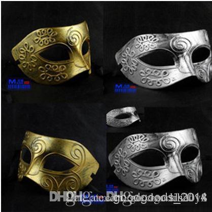 Halloween Christmas party masks Men's Greco-Roman warriors retro silver masquerade masks Gold silver two color options c158