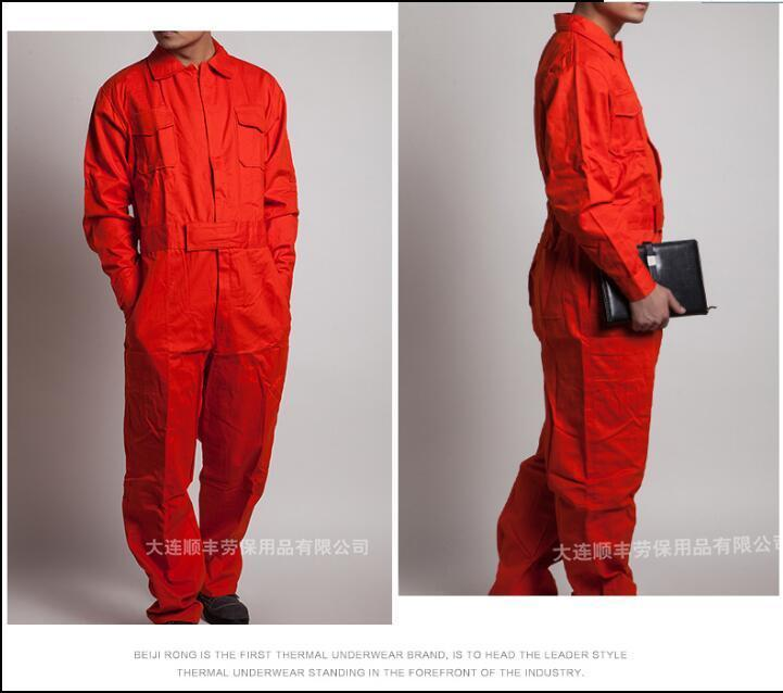 M-4XL Jumpsuits coveralls male and female spring and autumn work jumpsuits Siamese long-sleeved cotton work clothes plus size
