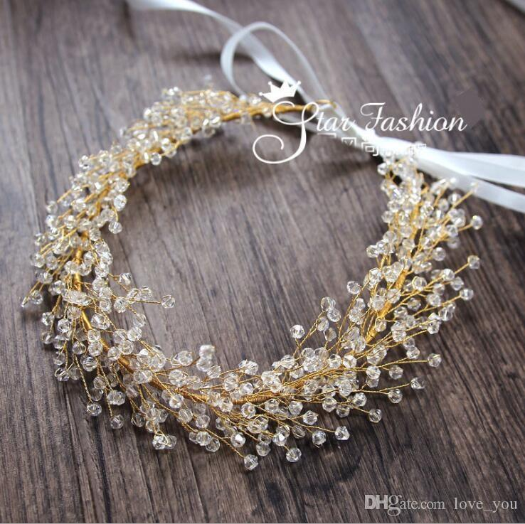 Nuevos Accesorios de vinilo para el cabello de cristal Vid nupcial Diademas para bodas Cabello con accesorios de cinta Accesorios para la cabeza