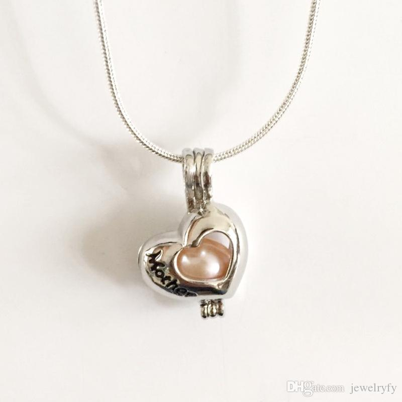 18KGP Mother Heart Cage Lockets, DIY Can Open And Hold 8mm Pearl Gem Bead Pendant Mounting Necklace Charms