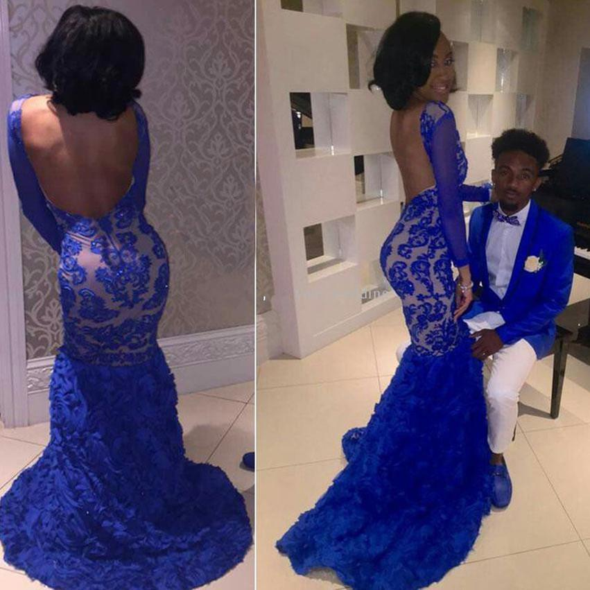 2018 Sexy Royal Blue Mermaid Prom Dresses Scoop Neck maniche lunghe in pizzo floreale Backless African Black Girls Party Dresses Lunghi abiti da sera