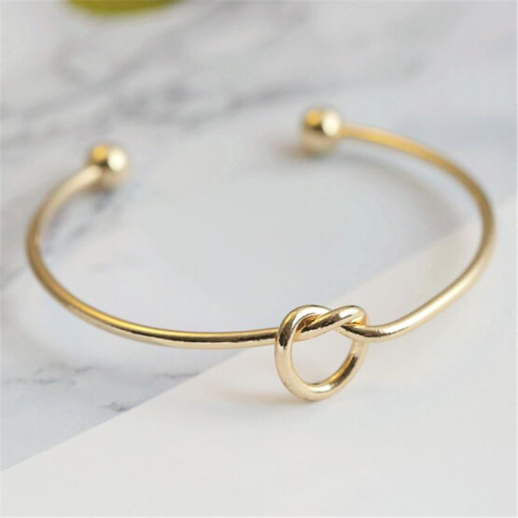 Silver Gold Tone Copper Expandable Open Wire Bangles for Love Knot Cuff Bracelets & Bangle for Kids and Adults