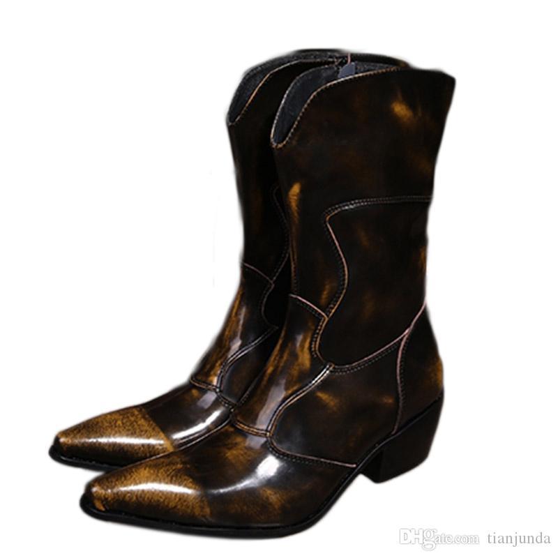 Zachodni kowbojskie buty Mężczyźni Mediun-Calf Oryginalne Skórzane Buty 6.5cm Obcasy Botas Hombre Motocykl Buty Wojskowe Mężczyzna, EU38-46