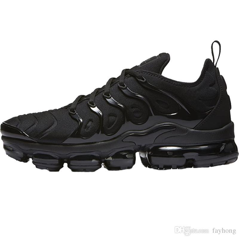 Running Shoes Sports de HOT 2018 Além disso TN Olive Homens Para Senhora Sneakers Trainers Branco Prata Cinza frio Para Sapatos Masculinos Triplo Preto do arco-íris