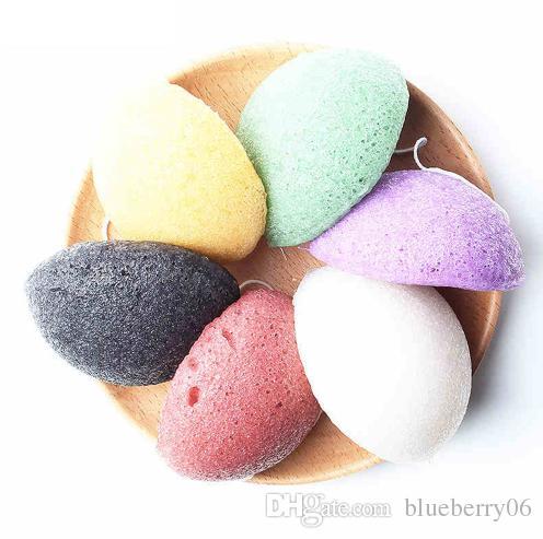 Commercio all'ingrosso 6 Colori Naturale Konjac Konnyaku Viso Soffio Viso Pulire Spugna Detergente Esfoliante Pulizia Spugna Soffio Detergente Viso
