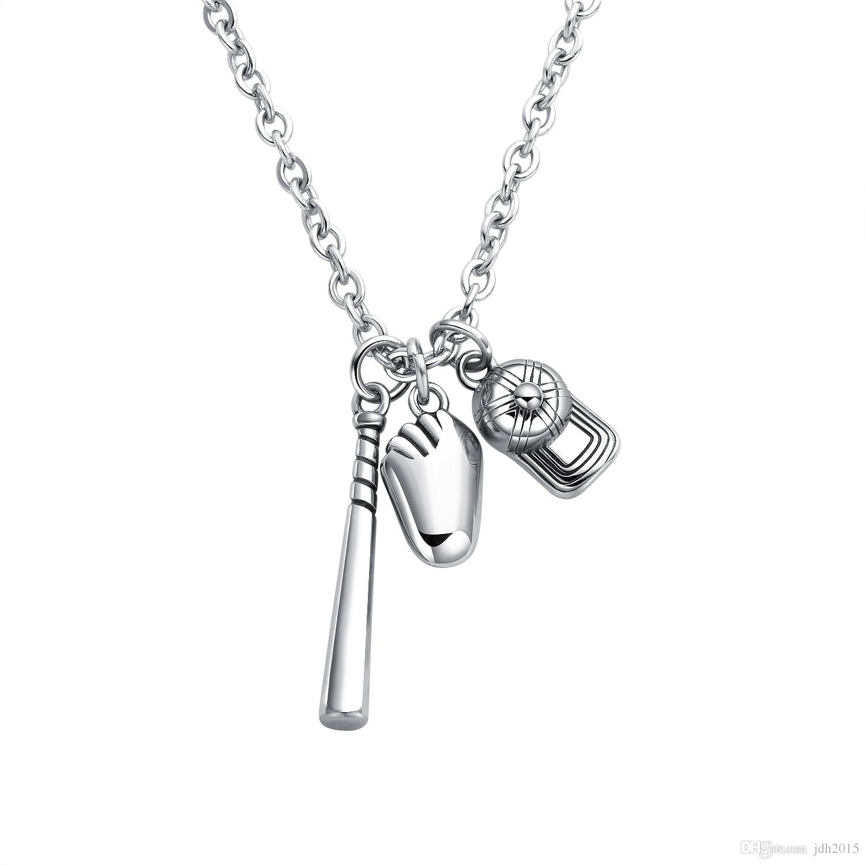 Softball Baseball Bat Cap Glove Charm Player Pendant Necklace Fashion Stainless Steel Jewelry