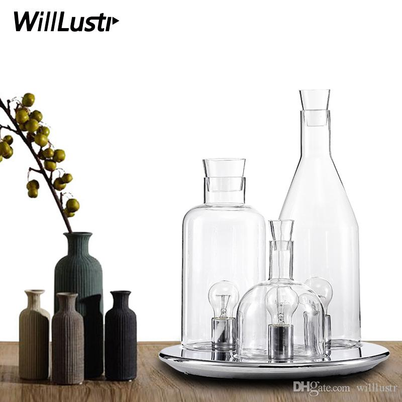 modern Guido Rosati Bacco design 123 bottle table lamp fashion clear milk white glass desk light bedside sofa side hotel restaurant lighting