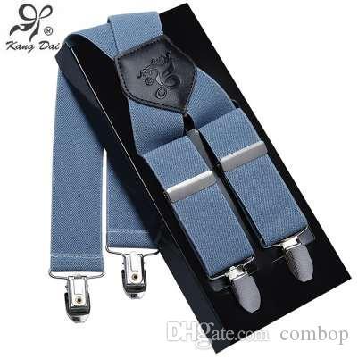 Kangdai Suspenders Men Leather Alloy 4 clip Suspender Belt Elastic Trouser Straps Fashion Commercial Pants Braces MCX401